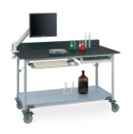 Metro Stainless Lab Worktables with Stainless Backsplash and Solid HD Shelf