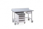Metro Stainless Lab Worktables with Gray Phenolic Top and 3-sided Frame