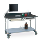 3Worktable with Black Phenolic Top and Solid shelf