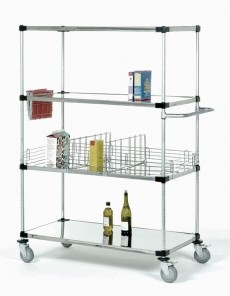 Metro Solid Shelving Stem Caster Carts
