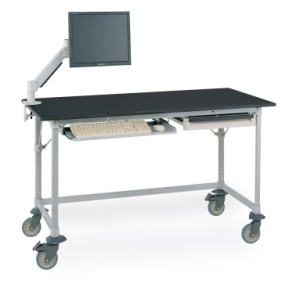 MetroMax Worktable with Black Phenolic Top and 3-sided Frame