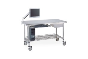 Worktables w/ Stainless Island Top and 3 Sided Frame