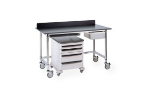 Stainless Table with Black Phenolic Top and 3-sided Frame