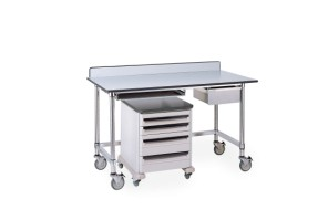 Stainless Table with Gray Phenolic Top and 3-sided Frame