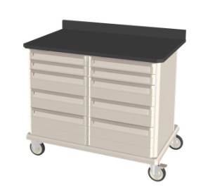 Double Wide Epoxy Top Mobile Workcenter Unit