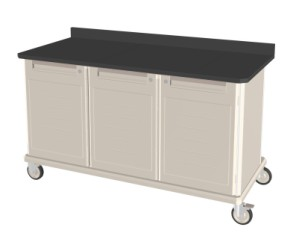 Triple Wide Mobile Workcenter w/ Lock Drawer and Shelf