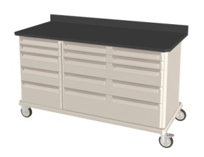 Triple Wide Heavy Duty Mobile Workcenter w/ Drawers