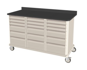 Triple Wide Mobile Workcenter Standard with drawers