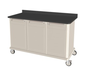 Triple Wide Mobile Workcenter Cart w/ Lock Drawer and Shelf