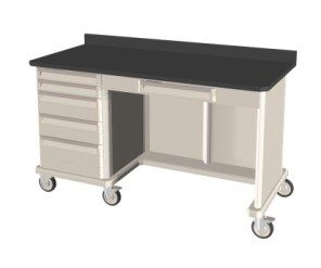 Triple Wide with Kneewell Mobile Workcenter Standard w/ Drawers