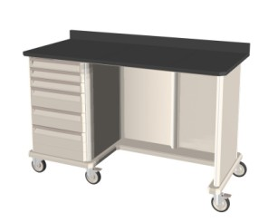 Triple Wide with Kneewell Mobile Workcenter Standard with Drawers